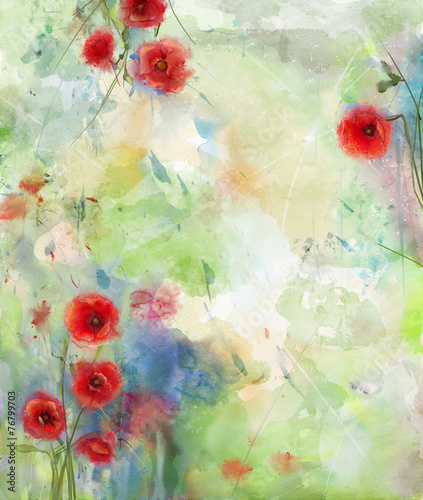 Red poppy flower with scenic watercolor background - 76799703