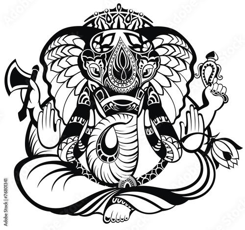 Photo  Vector illustration of an Indian god Ganesha