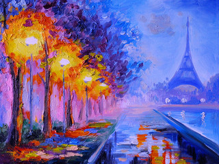 Panel Szklany Podświetlane Miasto Nocą Oil painting of eiffel tower, france, art work