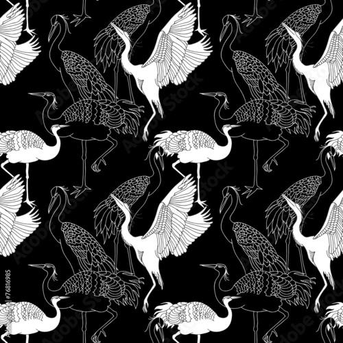 wzor-z-czarno-bialymi-zurawiami
