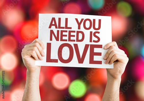 Photo  All You Need is Love card with colorful background