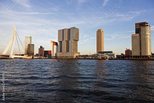 Foto op Canvas Rotterdam Rotterdam skyline with Erasmus Bridge