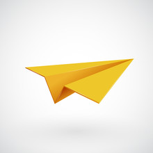 Yellow Paper Airplane Vector Illsutration