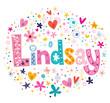 Lindsay female name decorative lettering type design