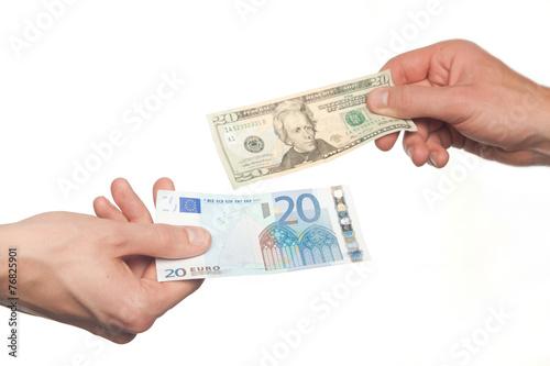 Hands Exchanging Euros And Dollars Money Exchange Concept