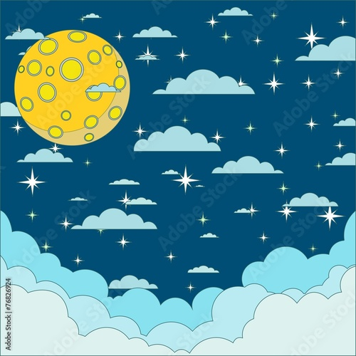 Photo Night beautiful moonlit sky, vector illustration