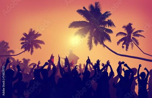 Adolescence Summer Festive Music Fans Concert Dancing Concept - 76829713