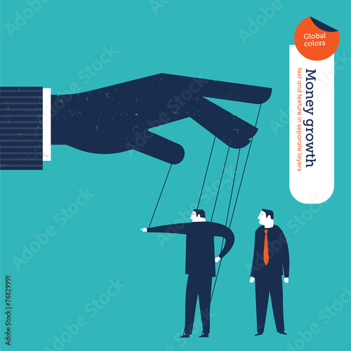 Fotomural Businessman puppet showing the right way to a businessman