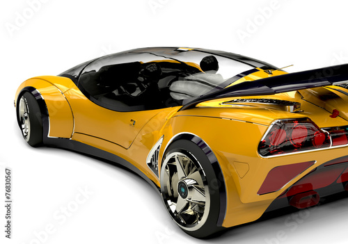Fotobehang Snelle auto s future car yellow bsck side view 2