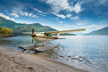 Float Plane Moored At A Beach ...