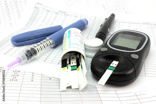 Fotografía  Glucometer and other instruments