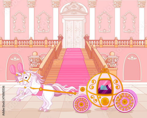 Printed kitchen splashbacks Fairytale World Fairytale pink carriage