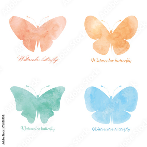 Fotobehang Vlinders in Grunge Colorful watercolor butterflies.