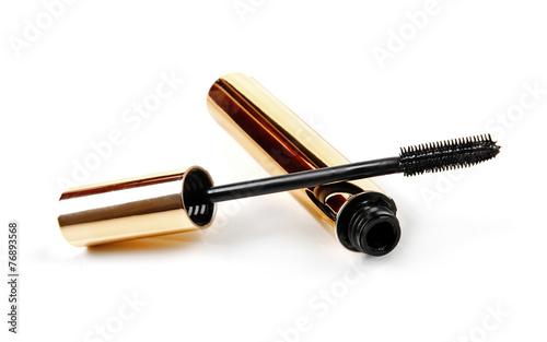Valokuva  black mascara wand and tube isolated on white