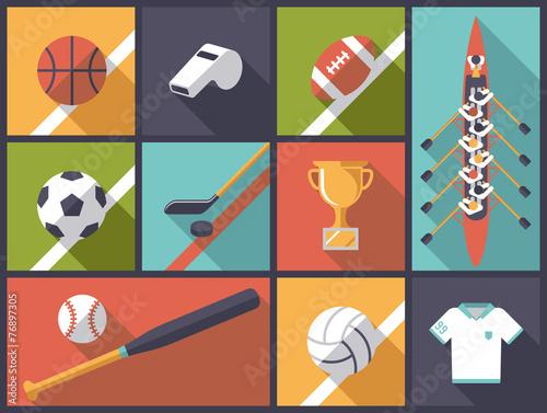 Foto  Team-Sport-flache Design-Ikonen-Vektor-Illustration