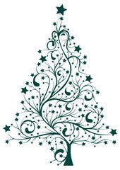 NaklejkaArtistic decorated Christmas pine tree floral vector