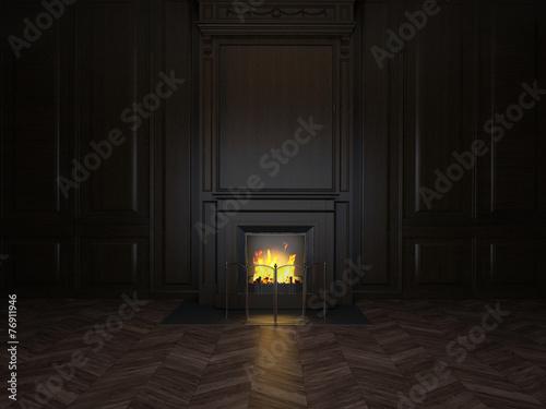 Foto op Plexiglas Wand fireplace in the room