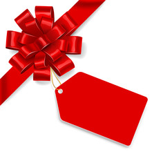 Red Bow With Tag. Vector