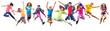 Leinwandbild Motiv group of happy sportive children jumping