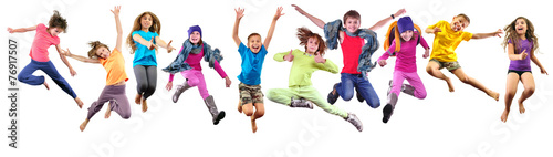 group of happy sportive children jumping