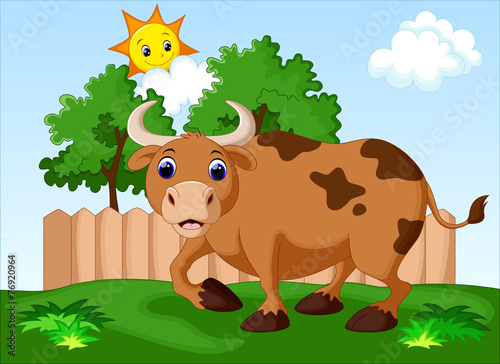 Tuinposter Vlinders Cute cow cartoon
