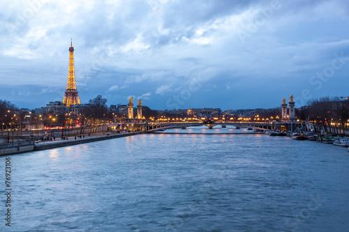 Photo  Eiffel Tower and Pont Alexandre III at dusk, Paris