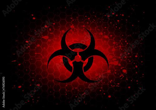 Photo Abstract  biohazard symbol dark red background