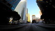 POV wide angle Downtown sunset city driving skyscrapers Los Angeles USA