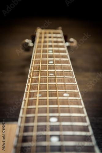 Keuken foto achterwand Muziekwinkel Acoustic guitar fretboard