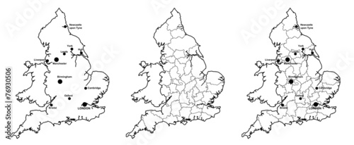 Map Of England Showing Major Cities.Maps Of England With And Without Counties And Major Cities Buy