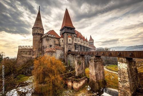fototapeta na szkło Corvinesti Zamek, Hunedoara, Rumunia