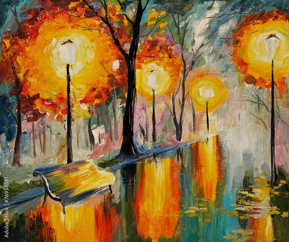 Fototapeta Oil painting of autumn street, art work