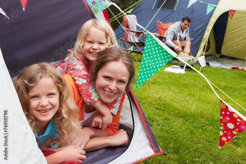 Poster Camping Family Enjoying Camping Holiday On Campsite