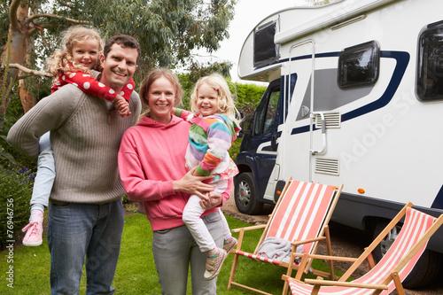 In de dag Kamperen Portrait Of Family Enjoying Camping Holiday In Camper Van