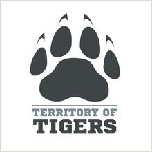 Tiger Footprint And Fire On Li...