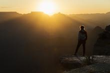 Girl Watching Sunset At Grand Canyon