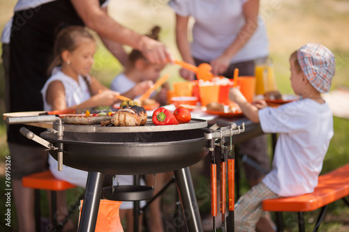 Fotografie, Obraz  Family having a barbecue