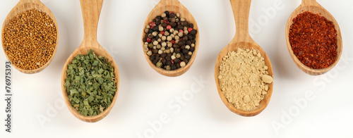 Printed kitchen splashbacks Herbs 2 Different spices and herbs in wooden spoons isolated on white