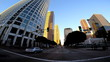 POV wide angle sunset city driving skyscrapers Los Angeles California USA