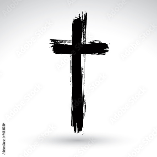 Fotografie, Obraz  Hand drawn black grunge cross icon, simple Christian cross sign,