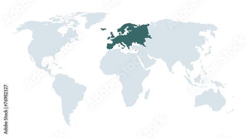 Photo  world map hight lighting europe