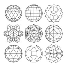 Collection Of 9 Black And White Complex Dimensional Spheres And