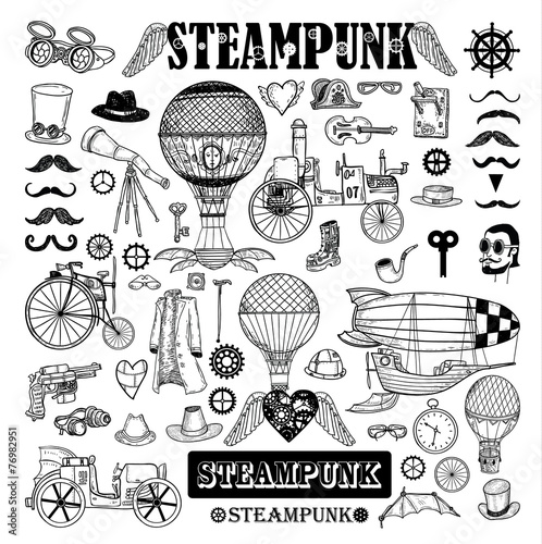 Photo  Steampunk collection, hand drawn vector illustration.