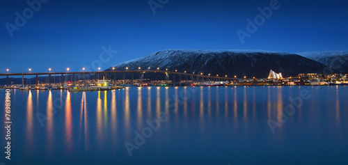Poster Northern Europe Twilight in Tromso, with Arctic Cathedral, Norway.