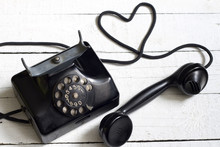 Old Retro Telephone With Heart...