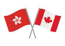 Canadian And Hong Kong Flags. Vector Illustration.
