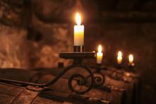 Kerzen Im Weinkeller