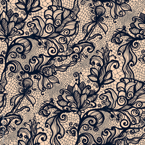 Fotografia, Obraz  Abstract seamless lace pattern with flowers.