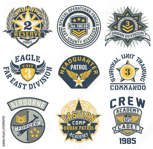 Fotografía  Military style patches vector collection