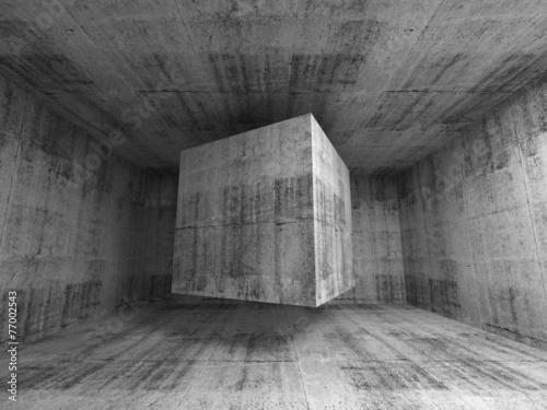 latajacy-szescian-w-abstrakta-3d-betonu-pokoju-wnetrzu